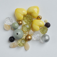 Bead Bundle - Vintage Beads - Lemon Beads - Bead Kit - Mixed Beads - Jewelry Kit - Jewelry Bundle - Yellow Beads - Bead Pack