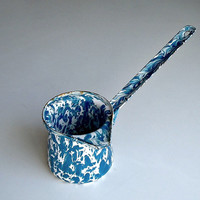 Enamelware Blue White Splatter Turkish Coffee Pot Pourer Dipper Ladle Vintage Enamel