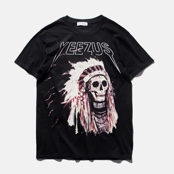 S-3XL 2016 American stamp tide brand men's leisure Street Indian chief skull t-shirt yeezus