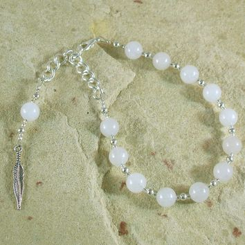 Ma'at Prayer Bead Bracelet in Snow Quartz: Egyptian Goddess of Truth, Justice, and Order