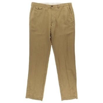 Polo Ralph Lauren Mens Big & Tall Linen Solid Khaki Pants