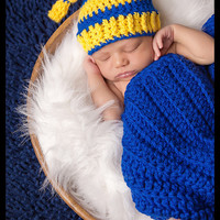 Bright Yellow and Royal Blue Striped Top Knot Hat and Matching Textured Mini Blanket