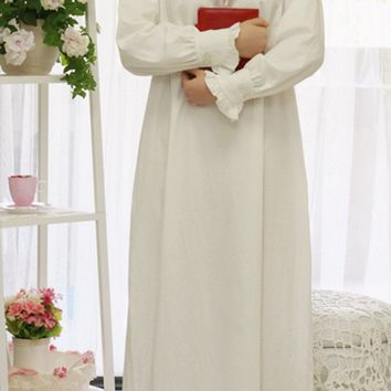 Women SLeepwear Cotton Nightgown Casual Sleepwear Ladies Royal Vintage Night wear White Nightdress Comfortable clothes for bed