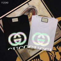 HCXX 19Aug 344 Gucci Classic Logo Reflective Printting Short Sleeve T-Shirt
