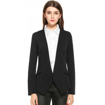 Womens Open Front Draped Asymmetric Solid Long Sleeve Blazer Jacket