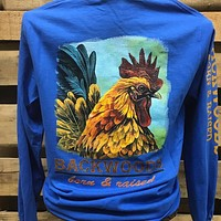 Backwoods Born & Raised  Southern Rooster Unisex Bright Long Sleeve T Shirt