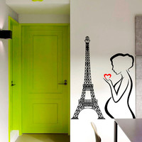 Paris Wall Decal Pregnant Girl Love in France Wall Art Mural Eiffel Tower Vinyl Stickers Home Murals Bedroom Design Living Room Decor KI133