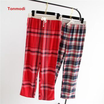 Autumn Women's trousers  100% cotton yarn dyed emerizing cloth flannelet pajama pants derlook trousers Female Sleep Bottoms
