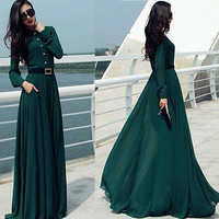 Womens Long Sleeve chiffon Cocktail Evening Gown Prom Maxi Formal dress NEW