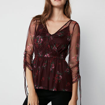 Floral Tulle Wrap Front Top