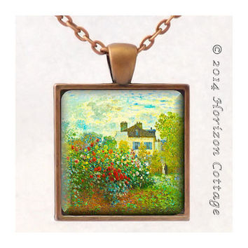 The Artist's Garden in Argenteuil by Monet - Old Masters' Classic Artwork - Key Ring or Pendant - Your Choice of Finish