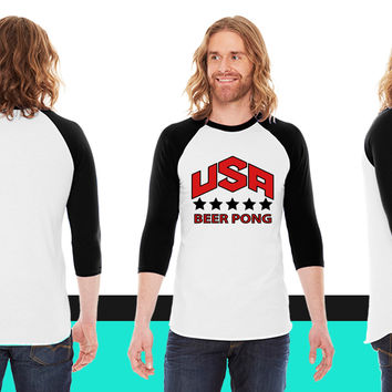 USA Beer Pong Team American Apparel Unisex 3/4 Sleeve T-Shirt