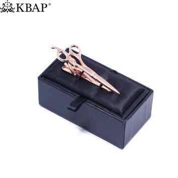 Scissor Tie Clip Barber Haircut Cutting Trimmer Shears Hair Stylist Bar Clasp Rose Gold Wedding Gifts