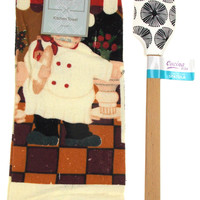 "Kitchen Towel Chef Cafe Scene 15""x25"" Black White Silicone Spatula Gift Set of 2"