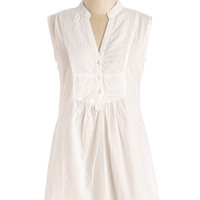 Long Sleeveless On Your Roam Time Tunic in White