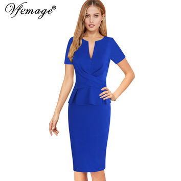 Vfemage Womens Elegant Ruched Zipper Peplum Vintage Casual Wear To Work Office Business Party Bodycon Pencil Sheath Dress 6295
