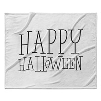"KESS Original ""Happy Halloween - White"" Fleece Throw Blanket"