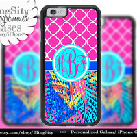 Monogram Blue iPhone 5C 6 Case 6 Plus iPhone 5s 4 case Ipod 4 5 Touch Cover Electric Feathers Hot Pink Quatrefoil Personalized