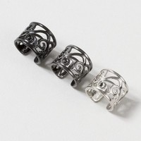 Black, Silver and Hematite Filigree Ear Cuffs – Claire's
