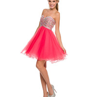 Watermelon Crystal Embellished Short Dress 2015 Homecoming Dresses