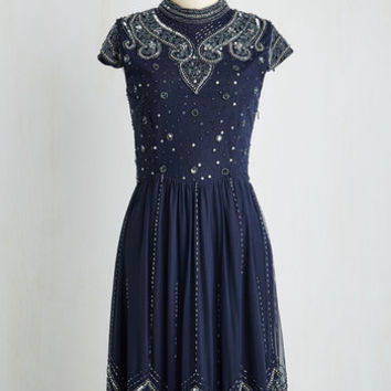 20s Mid-length Cap Sleeves Multiplied Mystique Dress by ModCloth