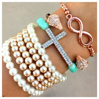 Pearls & Rose Gold Bracelet Set- Tanya Kara Jewelry