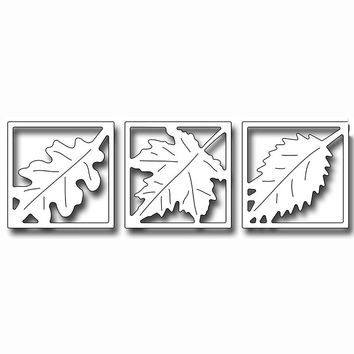 Thanksgiving Leaf Vignette Square Cutting Dies Stencil For DIY Scrapbooking Photo Album Embossing Paper Cards Crafts Diecuts