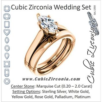 CZ Wedding Set, featuring The Kaela engagement ring (Customizable Marquise Cut Solitaire with Stackable Band)