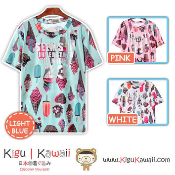 New Sweet Desserts Design Tshirt Harajuku Tops Free Size Shirt 3 Colors KK844