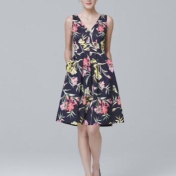 White House Black Market Sleeveless Floral-Print Scuba Knit Fit-and-Flare Dress