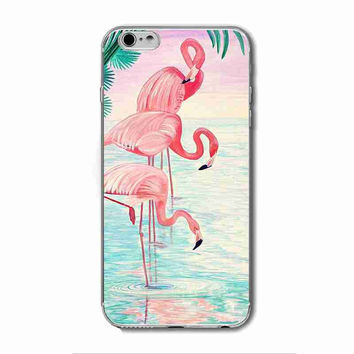 Flamingo Cute Animals Birds Transparent Soft TPU Silicone Phone Shell Back Cover Case for iPhone 4 4s 5 5s 5C SE 6 6s 6 Plus 6s Plus