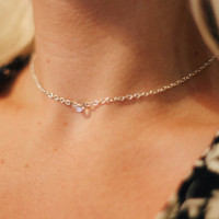 Crystal Clear Glass Adjustable Choker Necklace, friendship necklaces, crystal choker