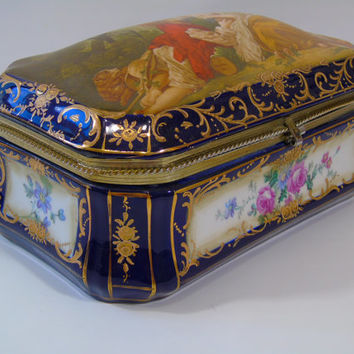Vintage RS Prussia Reproduction Porcelain Domed Lid Victorian Vanity Trinket Box F. Boucher La Marotte  Prussian Jewelry Box