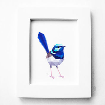 Superb Wren, Blue wren, Geometric print, Original illustration, Animal print, Minimal art, Nursery wall art