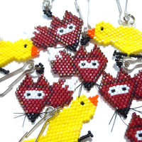 Birds and Foxes, Beaded Charm Set, Bead Weaving