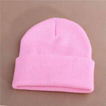 Unisex Warm Winter Knitted Beanie Pink Cuffed Skully Hat