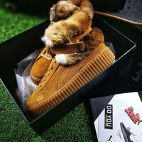 ONETOW Best Online Sale Puma Fenty Creeper x Buscemi Fur Winter Models Brown Yellow Shoes