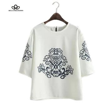 Summer autumn new vintage ethnic black baroque floral placement print half sleeve white pullover blouse shirt