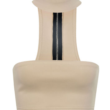 Khaki Neck Band Detail Zip Back Crop Bandeau