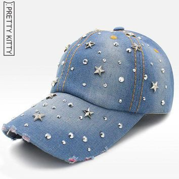 Pretty Kitty  Fashion Denim Hat Leisure Bling Rhinestone Cap  Adjustable Snapback Baseball Cap Women