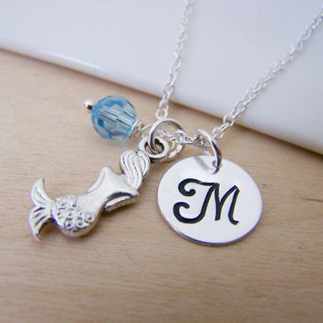 Mermaid Ocean Beach Charm Swarovski Birthstone Initial Personalized Sterling Silver Necklace / Gift for Her