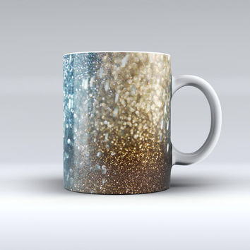 The Teal and Gold Grungy Orbs of Light ink-Fuzed Ceramic Coffee Mug