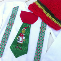 Baby Boy Christmas Tie Bodysuit with Suspenders and Crochet Beanie - Boys Christmas Holiday  - Grinch Tie with Suspenders