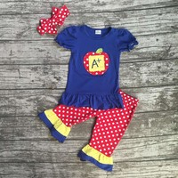 Back to school A plus outfit with polka dot capri pants and a  matching headband