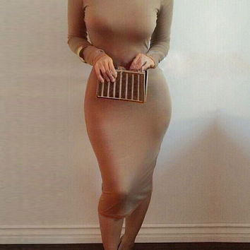 Khaki Tight Neck Dress