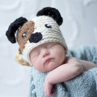 043a Puppy Dog Newborn Baby Crochet Hat Great for by MagicKnit