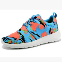 NIKE Women Men Running Sport Casual Shoes Sneakers camouflage Blue orange
