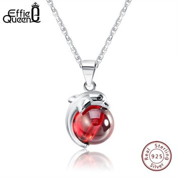 Effie Queen 925 Sterling Silver Necklace for Women Lovely Red Stone Dolphin Animal Pendants Silver&Gold-color Jewelry Gift BN02