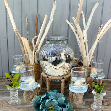 Coastal Chic Driftwood centerpiece Collection for Nautical Table and Beach Wedding Decoration , Twined Iron Candelabra