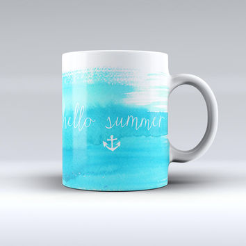 The Hello Summer Blue Watercolor Anchor V2 ink-Fuzed Ceramic Coffee Mug